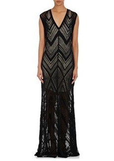 L'Agence Women's Tatiana Zigzag-Knit V-Neck Long Dress