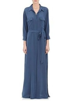 L'Agence Women's Washed-Silk Long Shirtdress