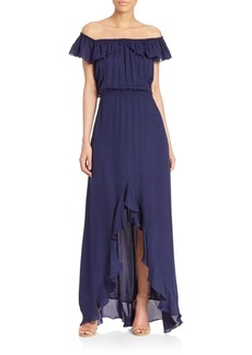 L'AGENCE Yves Off-The-Shoulder Ruffle Dress