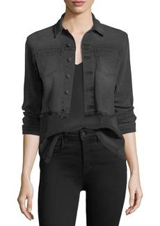 L'Agence Zuma Lace-Up Cropped Denim Jacket