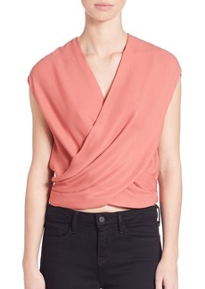 L'Agence Lee Silk Crossover Blouse