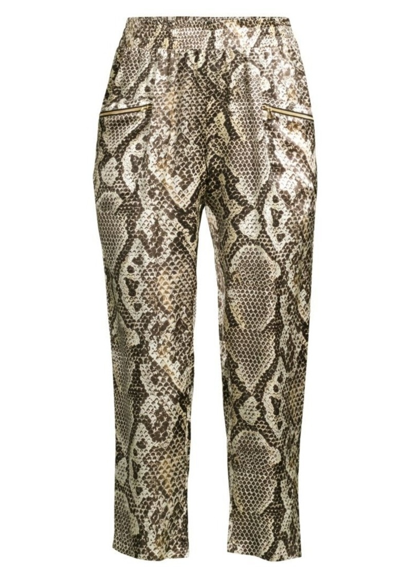 L'Agence Leigh Snake-Print Silk Cropped Trousers