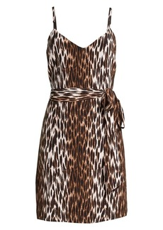 L'Agence Leopard Print Belted Silk Camisole Dress