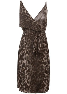 L'Agence leopard print fitted dress