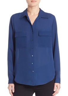 L'Agence Margaret Double Pocket Silk Blouse