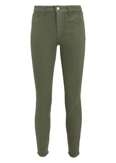 L'Agence Margot Green Coated High-Rise Ankle Skinny Jeans