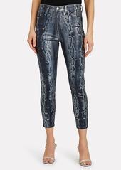 L'Agence Margot Foiled Snake-Print Skinny Jeans