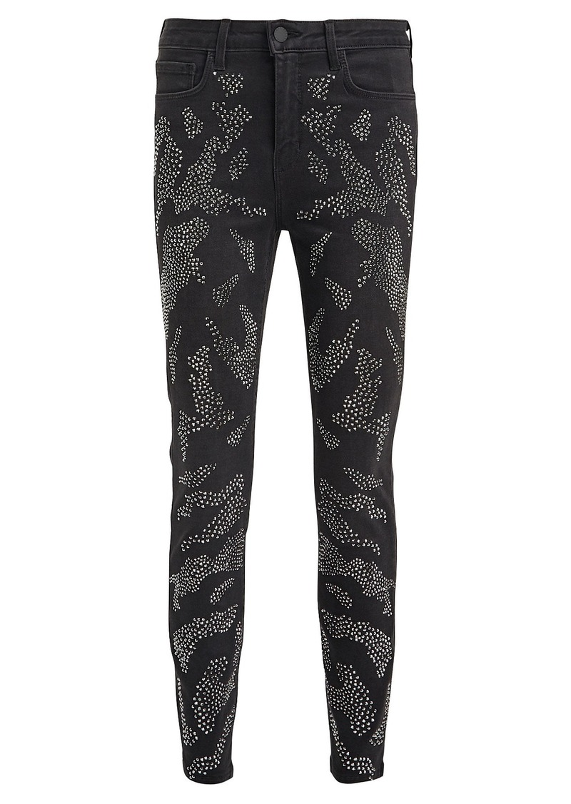 L'Agence Margot High-Rise Leopard Crystal Jeans