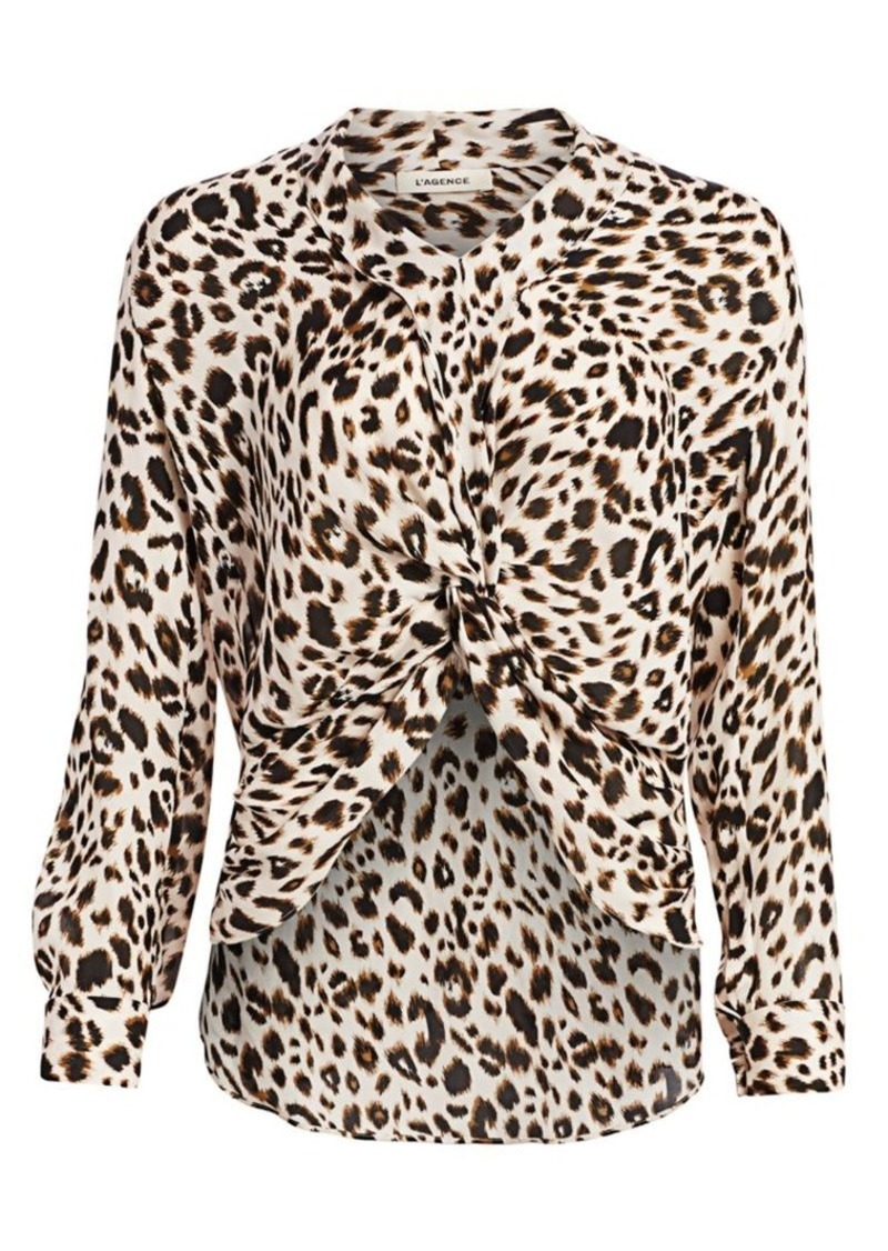 L'Agence Mariposa Leopard High-Low Silk Blouse