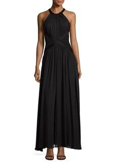 L'Agence Marvella Silk Halter Maxi Dress