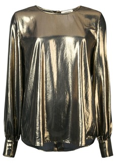 L'Agence metallic round neck blouse