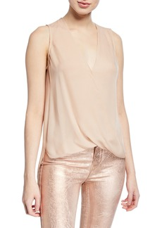 L'Agence Mila Draped V-Neck Silk Top