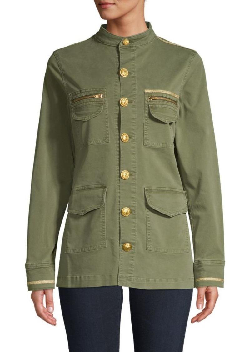L'Agence Mockneck Button-Front Jacket