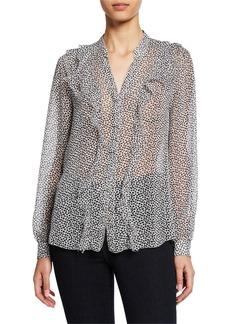 L'Agence Nadine Semi-Sheer Long-Sleeve Ruffle Shirt