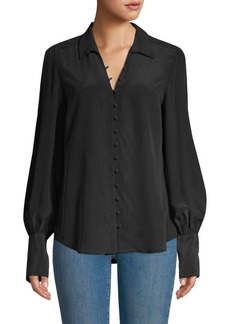 L'Agence Naomi Button-Loop Silk Blouse