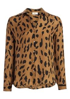 L'Agence Nina Animal-Print Silk Blouse