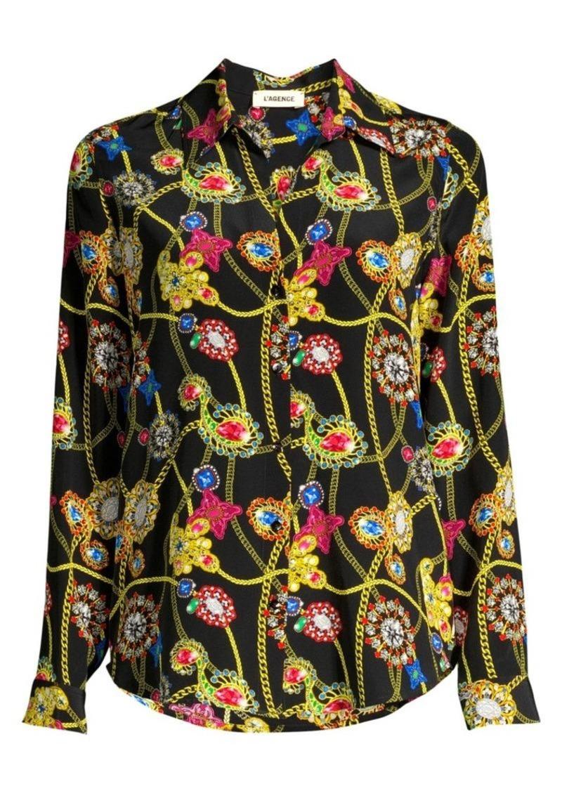 L'Agence Nina Jewel Printed Blouse