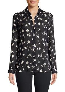 L'Agence Nina Star Print Silk Blouse