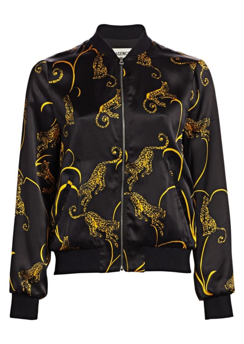 L'Agence Ollie Tiger-Print Silk Bomber