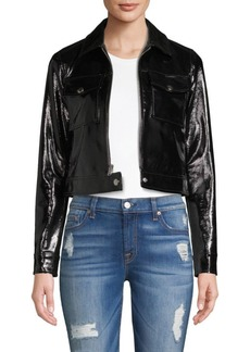 L'Agence Patent Leather Cropped Jacket