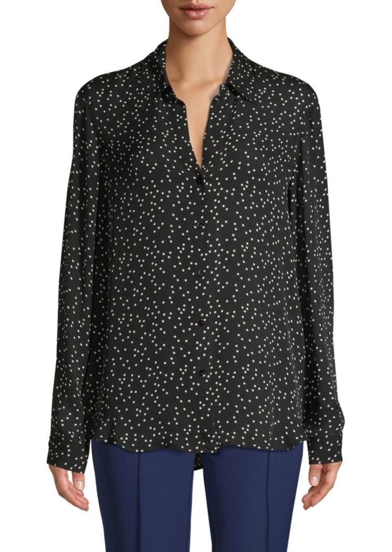 L'Agence Polka Dot Silk Long-Sleeve Shirt