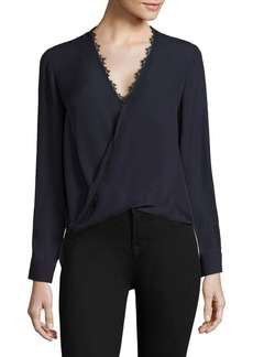 L'Agence Rosario Lace Trimmed Silk Top