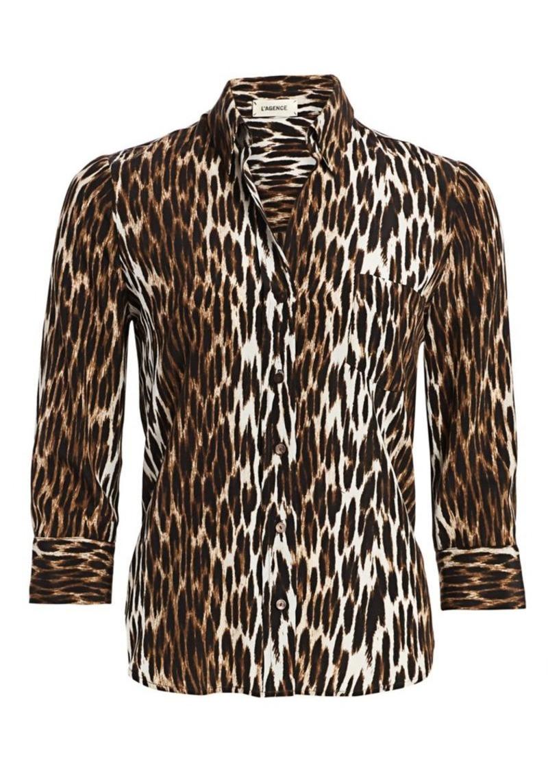 L'Agence Ryan Leopard Silk Blouse