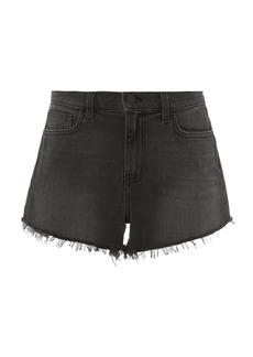 L'Agence Ryland Faded Black Denim Shorts