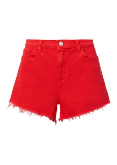 L'Agence Ryland Siren Red Cut Off Shorts