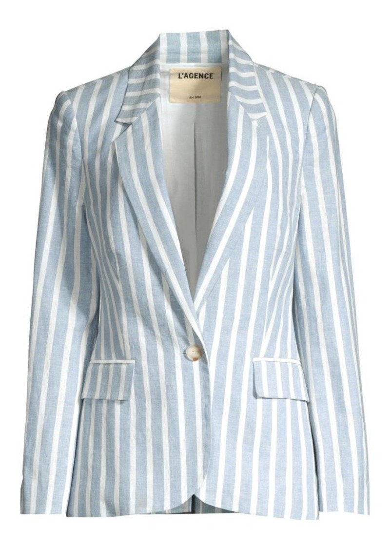 L'Agence Scout Striped Linen-Blend Blazer