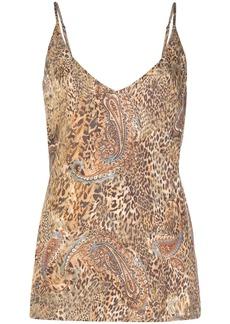 L'Agence silk leopard-print vest top