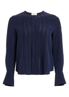 L'Agence Simone Pleated Silk Blouse
