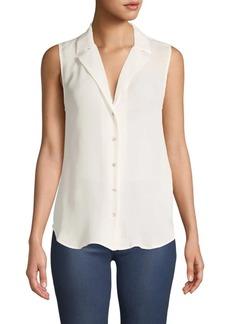 L'Agence Sleeveless Silk Button-Down Shirt