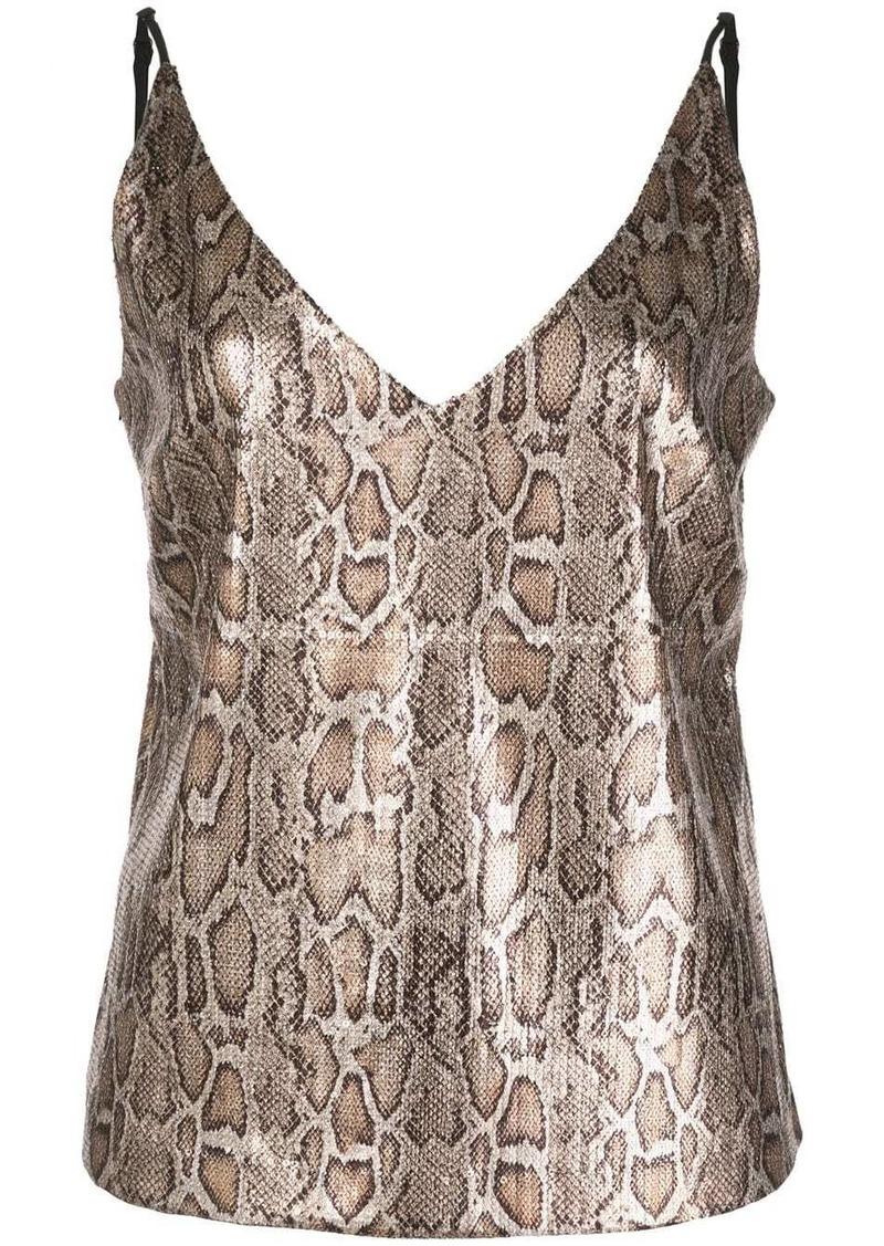 L'Agence snakeskin-effect plunge-neck cami top