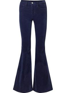 L'Agence Solana Flared Cotton-blend Velvet Pants
