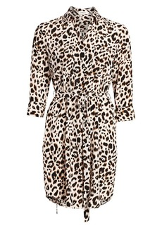 L'Agence Stella Leopard Silk Shirtdress