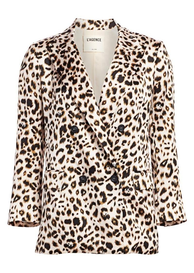 L'Agence Taryn Leopard Silk Double-Breasted Peak Lapel Blazer