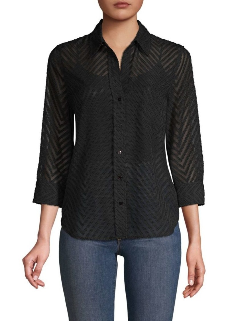 L'Agence Three-Quarter-Sleeve Chevron Shirt