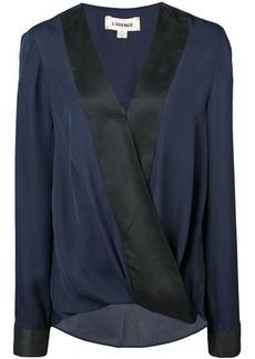 L'Agence two-tone wrap blouse