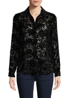 L'Agence Velvet Floral Mesh Shirt