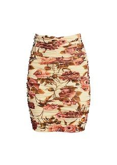 L'Agence Veronica Shirred Printed Skirt