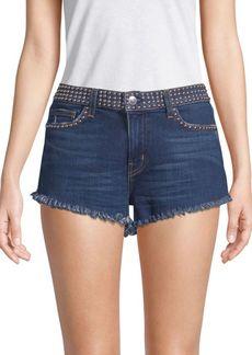 L'Agence Zoe Studded Denim Shorts