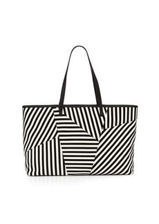 L.A.M.B. Idelia Striped Suede Tote Bag