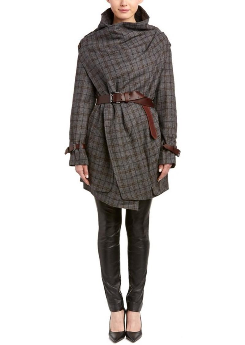 L.A.M.B. L.A.M.B. Plaid Wool Wrap Coat