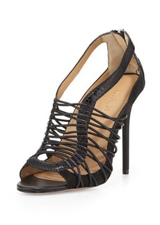 L.A.M.B. Raivyn Snake-Embossed Strappy Leather Sandal