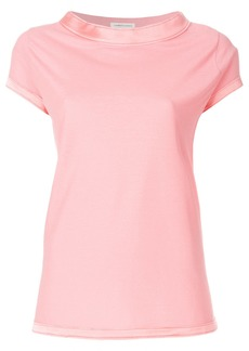 Lamberto Losani trim neck T-shirt - Pink & Purple