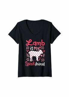 L.A.M.B. Womens Lamb Spirit Animal V-Neck T-Shirt