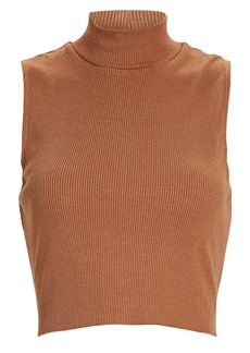 Lanston Cropped Sleeveless Mock Neck Top
