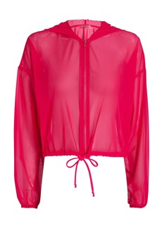 Lanston Hooded Mesh Zip-Up Sweatshirt