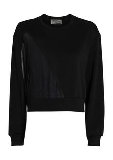 Lanston Overland Vegan Leather-Trimmed Sweatshirt